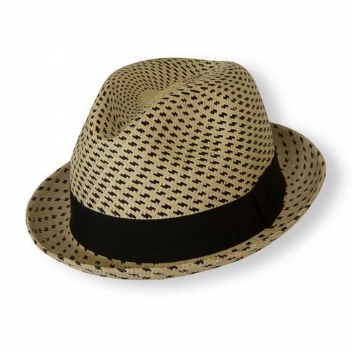 Panama Hat Trilby - Natural & Black Stripes